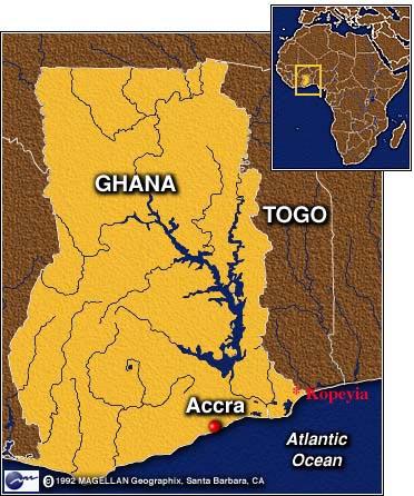Kopeyia is in the southeast corner of Ghana