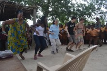 Mama Yaa, Chioma, Lisa, Elliot, Alexandra and KOBLAS student dancing at PTA meeting at school