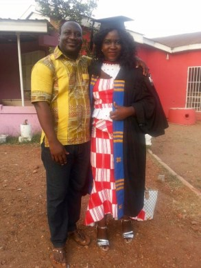 Kopeyia School alumna Akpene Gedzah graduated from 2nd Image International College in Accra, Ghana with a degree in Fashion and Design, pictured with her brother Victor Atsu Gedzah