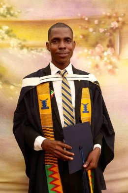 Godwin Sodzedo, graduating from University of Professional Studies in Accra, Ghana, 2018, with a degree in Business and Accounting
