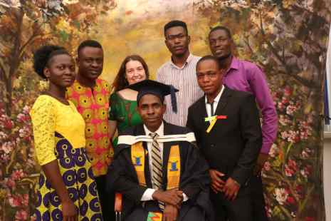 new grad Godwin Sodzedo with celebrants Enoch, Senam, Serena, Fafali, Elike and Mensah