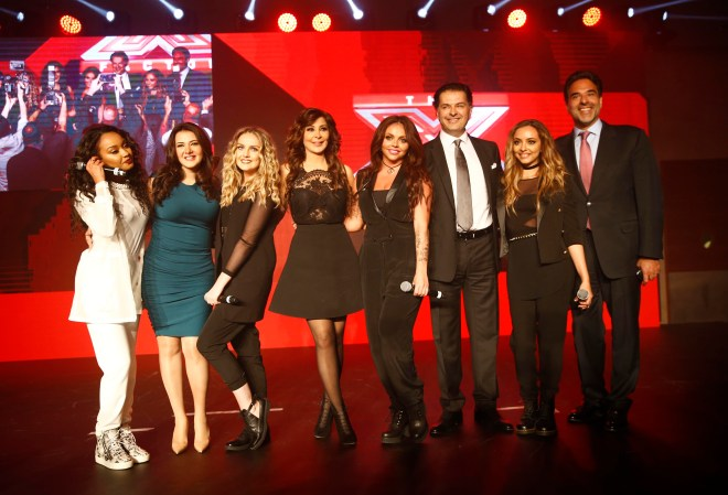(4) MBC4 & MBC MASR - The X Factor Launch Press Conference- Mazen Hayek & Jury Members Elissa & Ragheb & Donia