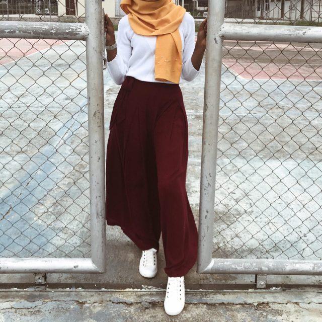 modest-fashion-white-sweater-wine-palazzo-pants-mustard-scarf-khairahscorner