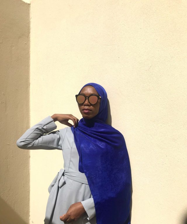 Muslim Modest Fashion Hack One Grey Wrap Dress Five Ways royal blue bubble satin silk raana scarf blogpost khairahscorner