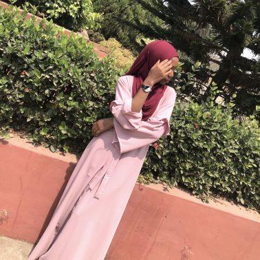 modest muslim fashion maxi dress belt sleeve details custom opera mauve taupe belt blood red premium rayon scarf styling veiled collection blogpost khairahscorner view