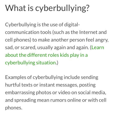 cyber bullying anonymous messaging slander commonsense media definition