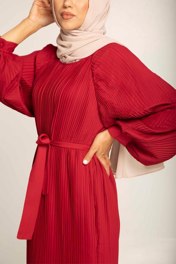 $129 BURGUNDY PLEATED BALLOON SLEEVE MAXI DRESS (2)