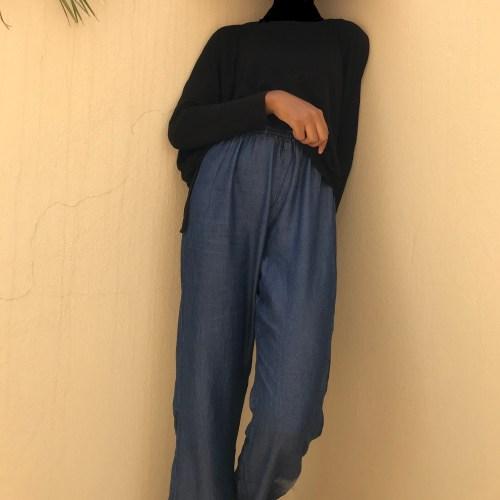 lightweight denim maxi palazzo pants trend blogpost khairahscorner casual look