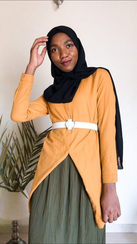 three ways style modanisa green pleated skirt mustard yellow shirt jacket ecru modest fashion khairahscorner