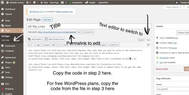 how to create your custom instagram bio link linktree websit khairahscorner step 1