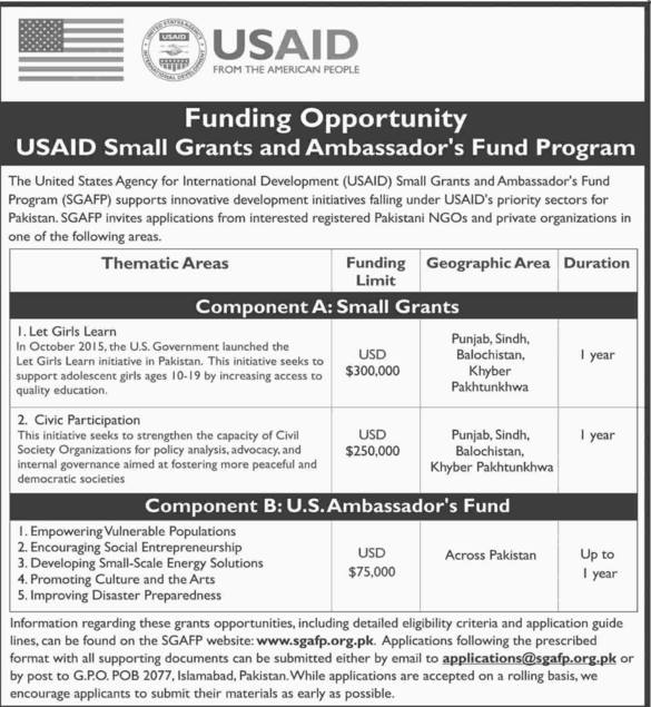 Funding opportunities from USAID