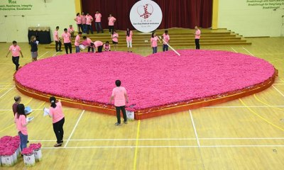 Singapore creates world's largest artificial flower bouquet