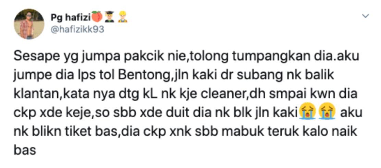 sajagempak.com - Pakcik Terpaksa Jalan Kaki Dari KL Balik Kelantan, Ditipu Rakan Yang Tawarkan Pekerjaan