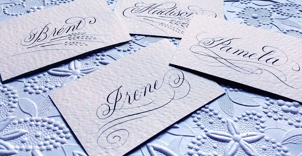 Hand Calligraphy Place Cards - Austin Wedding Event Calligraphy