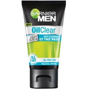 garnier men oil clear clay d-tox icy face wash 100gm