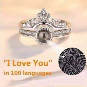 خاتم بحبك بكل لغات العالم فضه ايطالى عيار 925