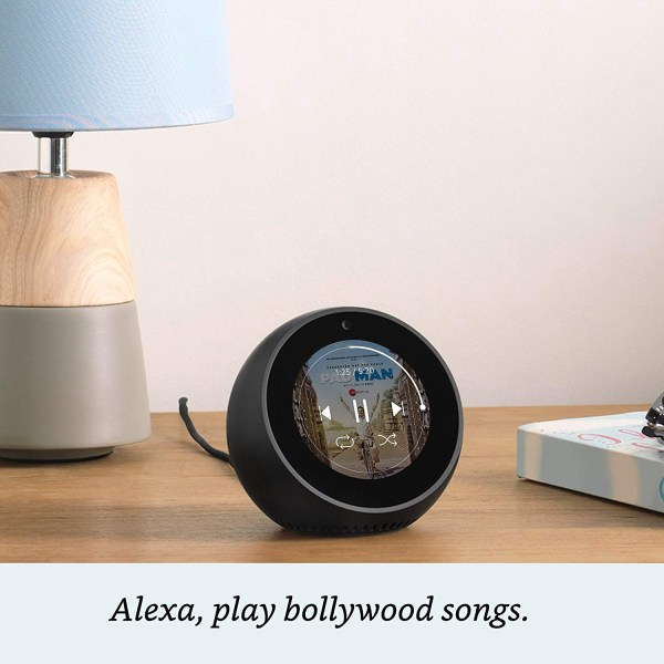 Amazon Echo Spot - Stylish echo with a screen, Make video calls, Voice control your music, news, weather & more - White-5442