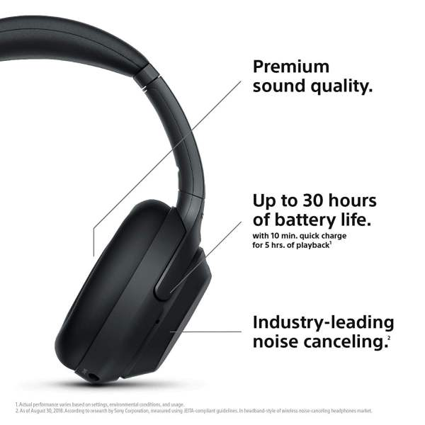 Sony WH-1000XM3 Wireless Industry Leading Noise Cancellation Headphones with Touch Sensor (Black)-6396