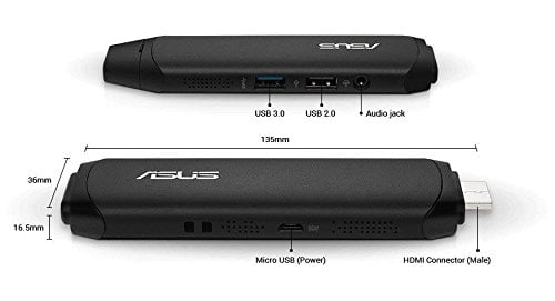 ASUS VivoStick PC TS10 ( Intel Atom x5-Z8350 Processor / 2 GB LPDDR3 at 1600MHz / 32GB eMMC / Windows 10 Home)-8909