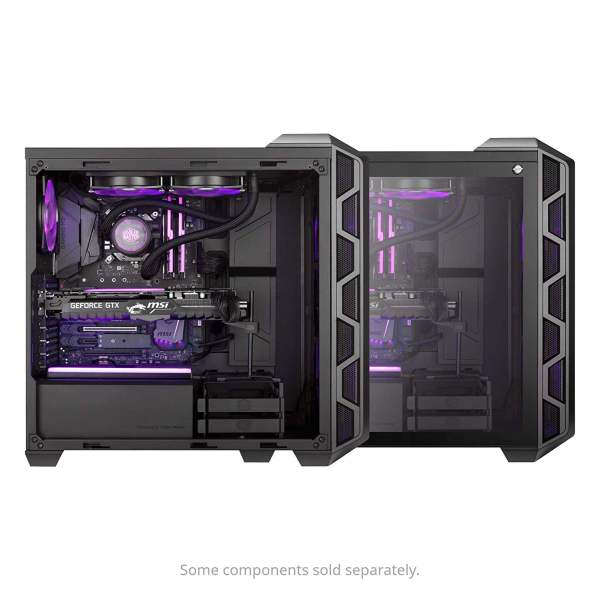 Cooler Master MasterCase H500 ATX Mid-Tower, Tempered Glass Panel, Two 200mm RGB Fans with Controller and Case Handle for Transport Cabinet-8994