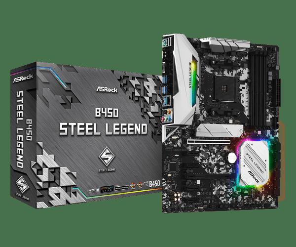 ASRock B450 Steel Legend Socket AM4/ AMD 3rd Generation Ryzen B450/ DDR4/ Quad CrossFireX/ SATA3&USB3.1/ M.2/ A&GbE/ATX Motherboard-0