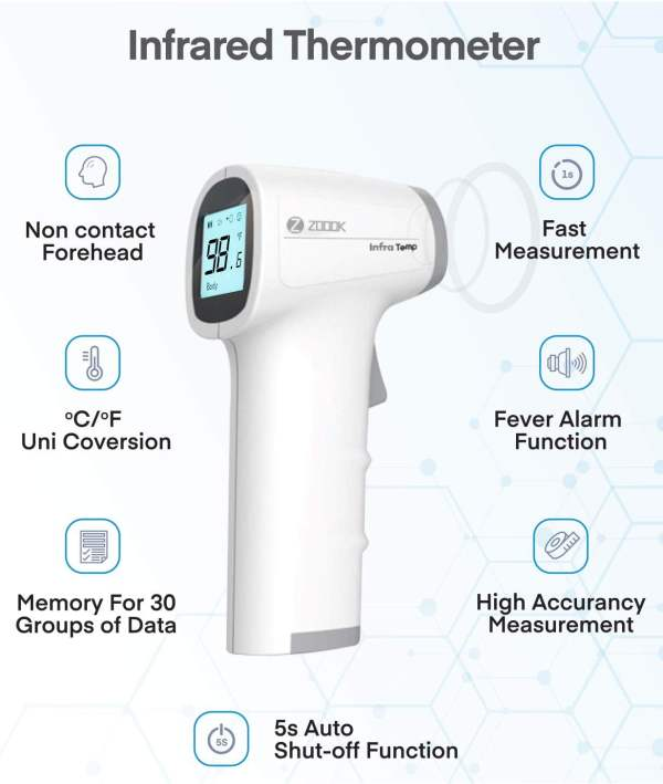 Zoook Infrared Temperature Forehead Medical Digital Non Contact Infrared (IR) Thermometer-9898