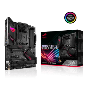 Asus ROG STRIX B550-E GAMING AMD B550 Ryzen AM4 Gaming ATX motherboard with PCIe® 4.0, teamed power stages, Intel® 2.5 Gb Ethernet, WiFi 6 (802.11ax), dual M.2 with heatsinks, SATA 6 Gbps, USB 3.2 Gen 2 and Aura Sync RGB lighting-0