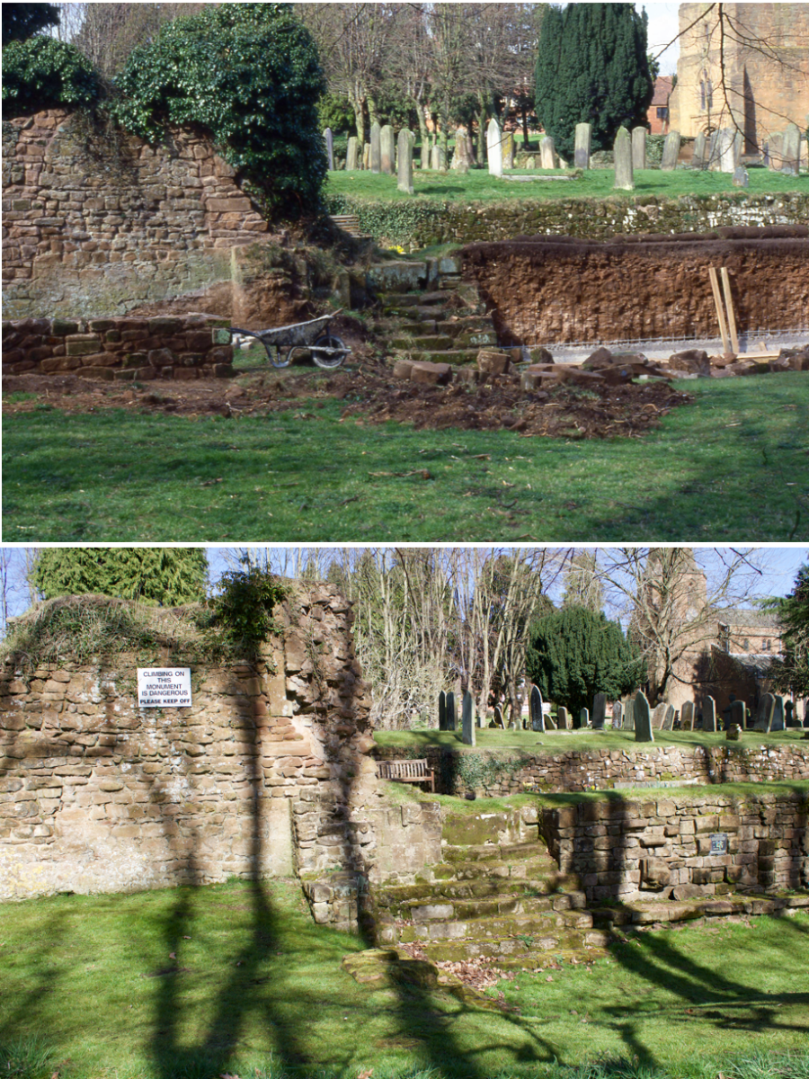 Garden of Rest walls being built from the Abbey Stonework - part 2