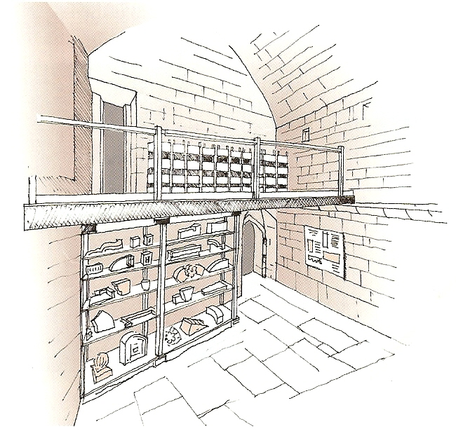 THE INNER CHAMBER, looking south-west, with the new mezzanine platform and shelving against the south wall. Drawing, Jonathan Holland