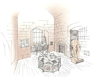 THE OUTER CHAMBER, looking south-west, with the new display unit in the centre. Drawing, Jonathan Holland