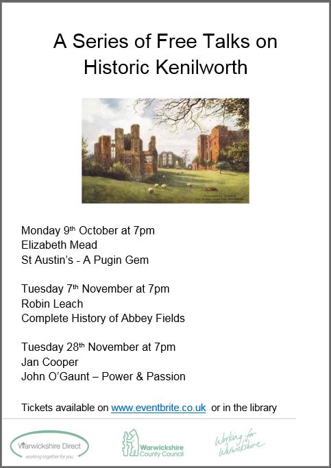 Kenilworth Library history talks poster, autumn 2017