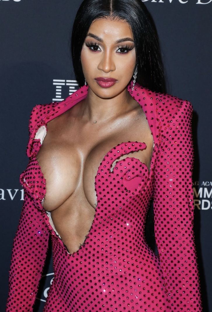Cardi B Unveils Her Entire Back Tattoo With Bright Pink: Cardi B Unveils Her New Breast Implants
