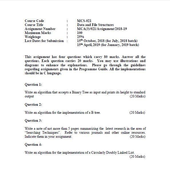 MCS-021 Solved Assignment IGNOU BCA MCA 2018 2019 PDF FREE