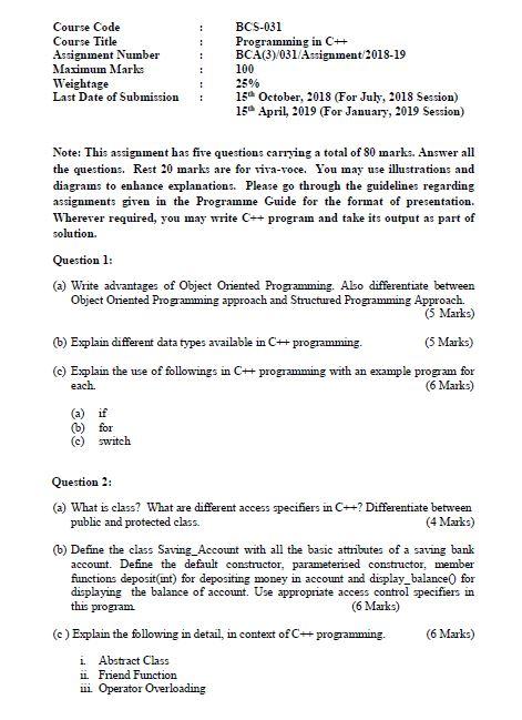 BCS-031 Solved Assignment 2018-2019 PDF Solution BCA 3rd Semester IGNOU