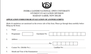 IGNOU Re-Evaluation of Answer Scripts – June 2018 TEE