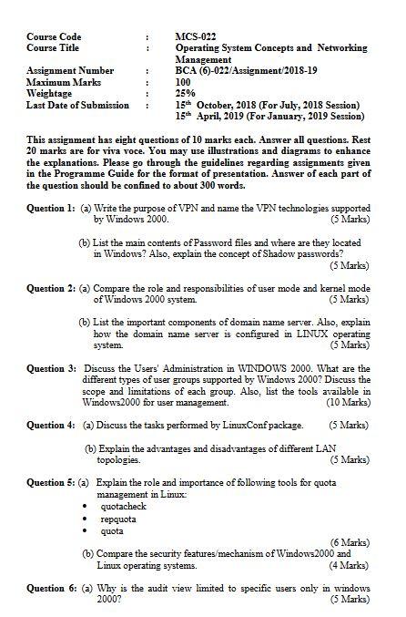 MCS-022 Solved Assignment 2018-19 IGNOU BCA MCA PDF Solution