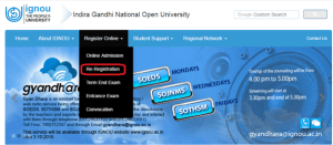 IGNOU Online Re-registration process step 1