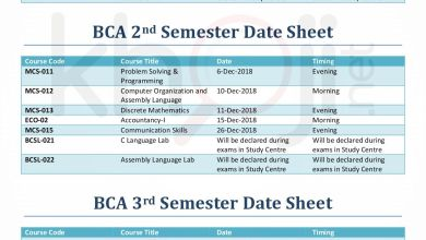 IGNOU BCA Date Sheet For December 2018 Term End Exams