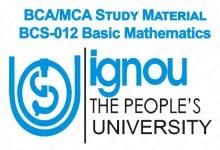 BCS-012 Study Material IGNOU BCA MCA Basic Maths