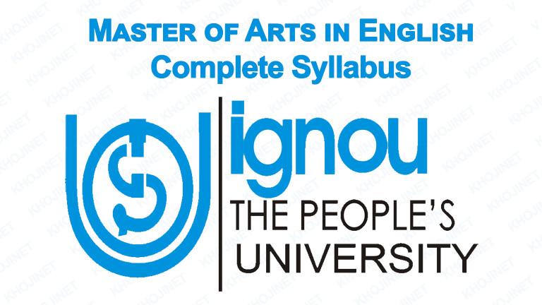 MA English Syllabus For Indira Gandhi National University (IGNOU)