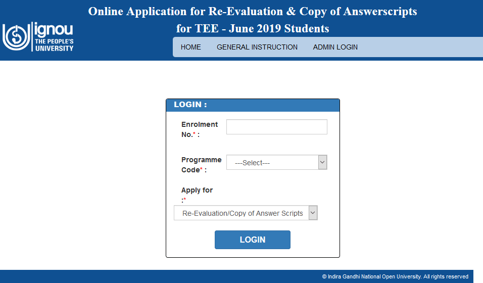 IGNOU-Online-Application-For-Re-Evaluation-And-Copy-of-Answersheets