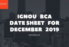 IGNOU BCA Date Sheet For December 2019 Exams