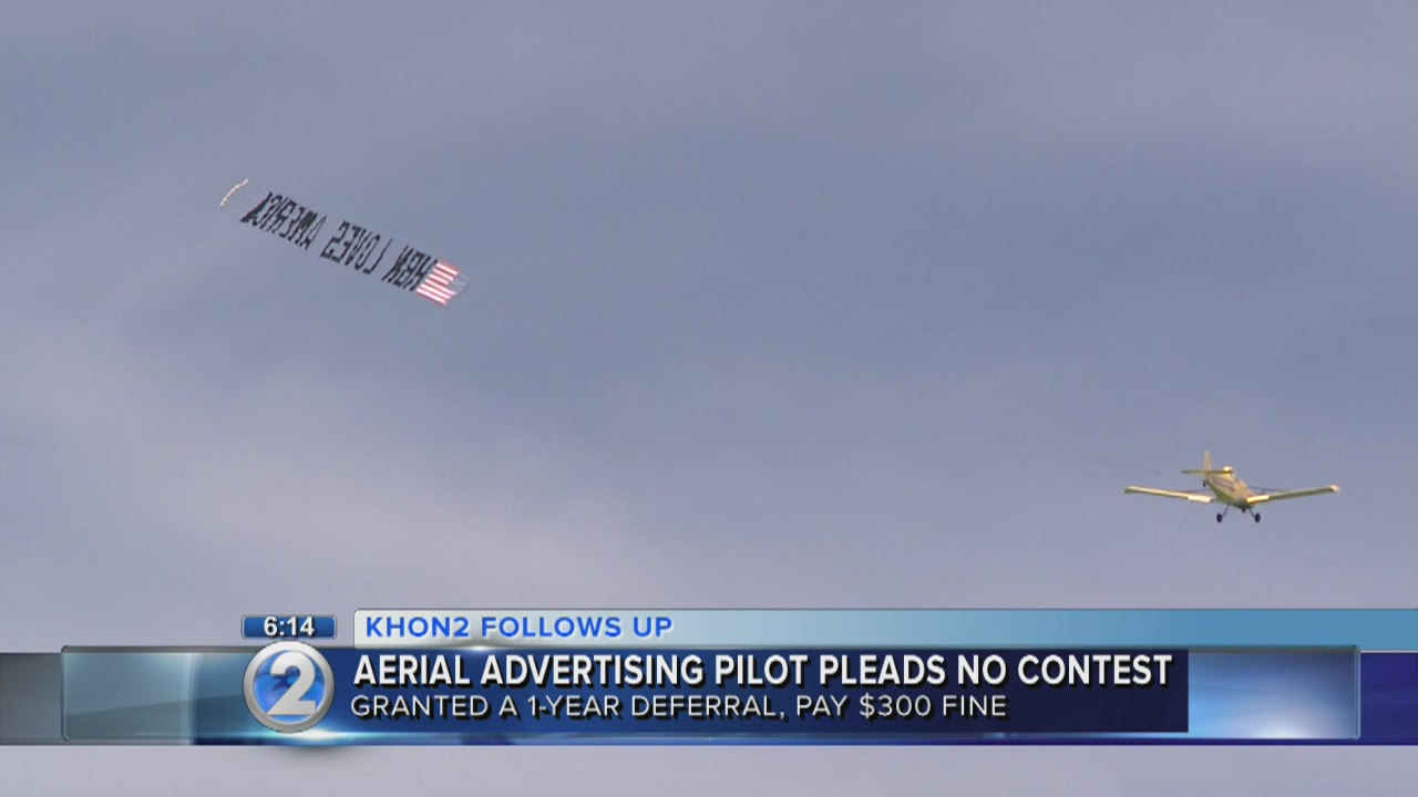 Pilot in aerial advertising case pleads no contest to charges