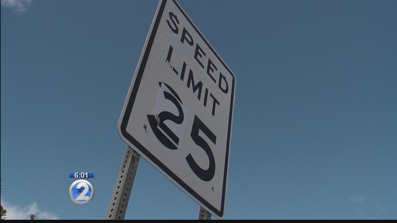 Speed limit signs on Likelike Highway get an illegal makeover