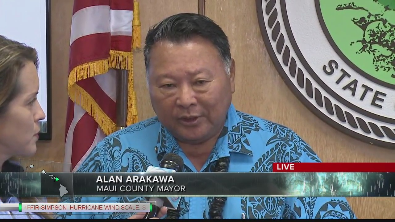 Thursday morning interview with Maui County Mayor Alan Arakawa ahead of Hurricane Lane