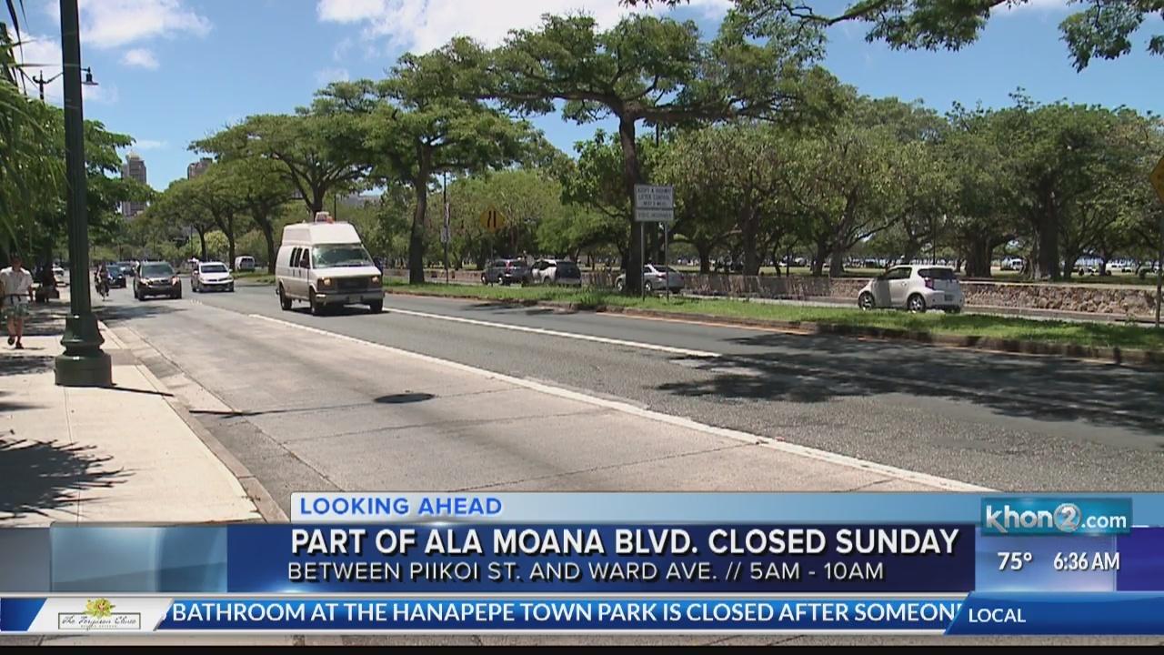 Parts of Ala Moana Boulevard closed temporarily Sunday morning.