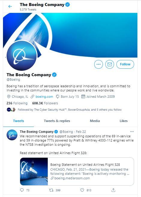 Phát ngôn của Boeing