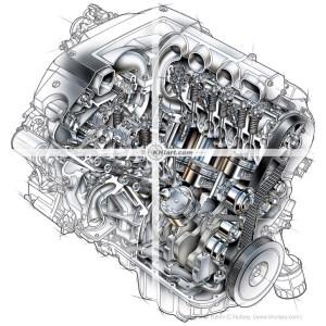 Cutaway car engine stock illustrations
