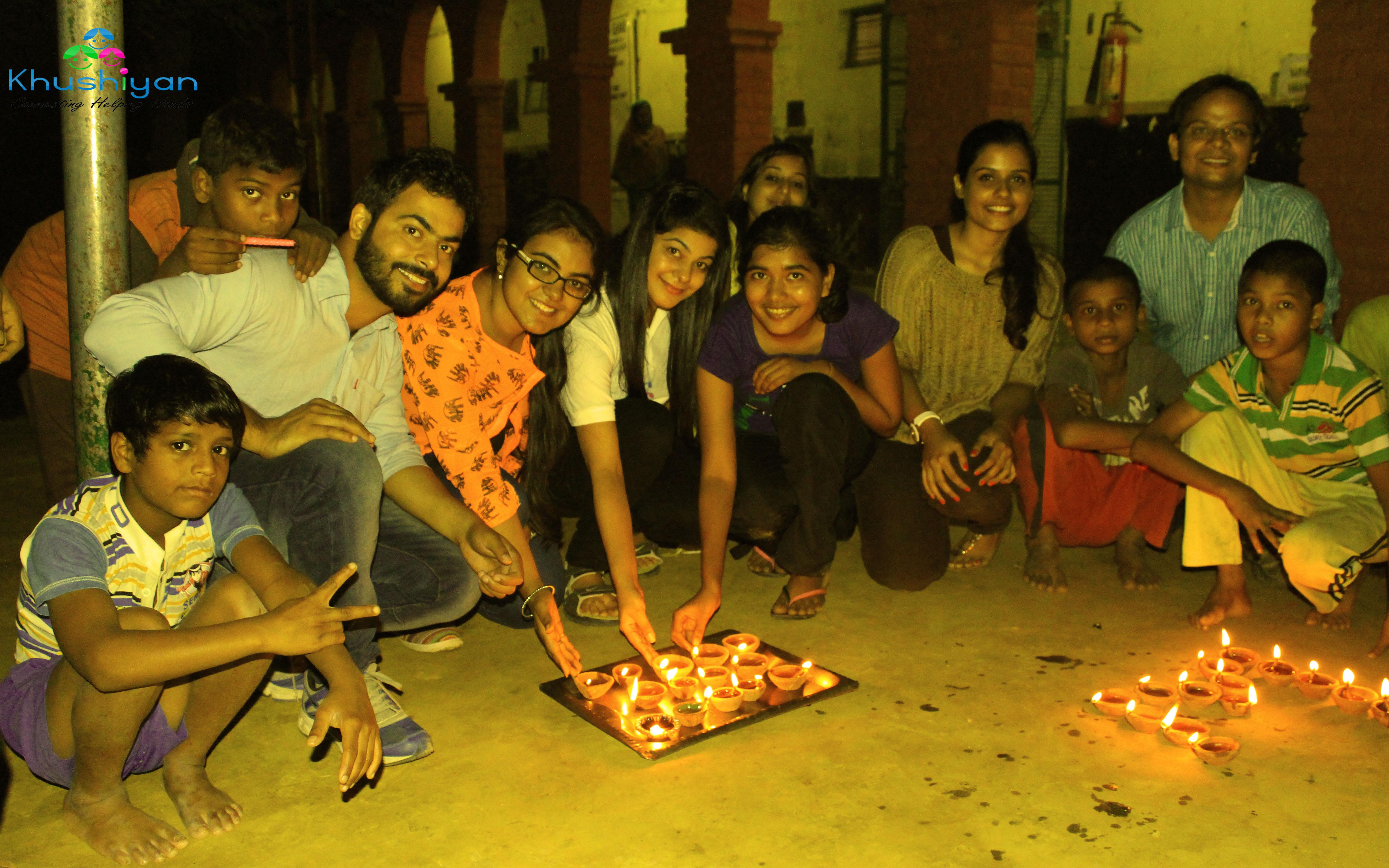 Khushiyan team celebrating diwali with children at ummeed aman ghar