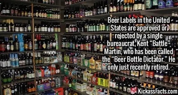"""2623 Kent Martin Beer Label-Beer Labels in the United States are approved or rejected by a single bureaucrat, Kent """"Battle"""" Martin, who has been called the """"Beer Bottle Dictator."""" He only just recently retired."""